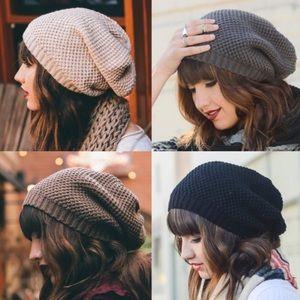 367877b18b4 Oatmeal Waffle Knit Slouch Beanie Hats